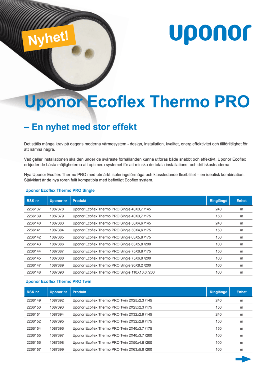 Uponor Ecoflex Thermo PRO