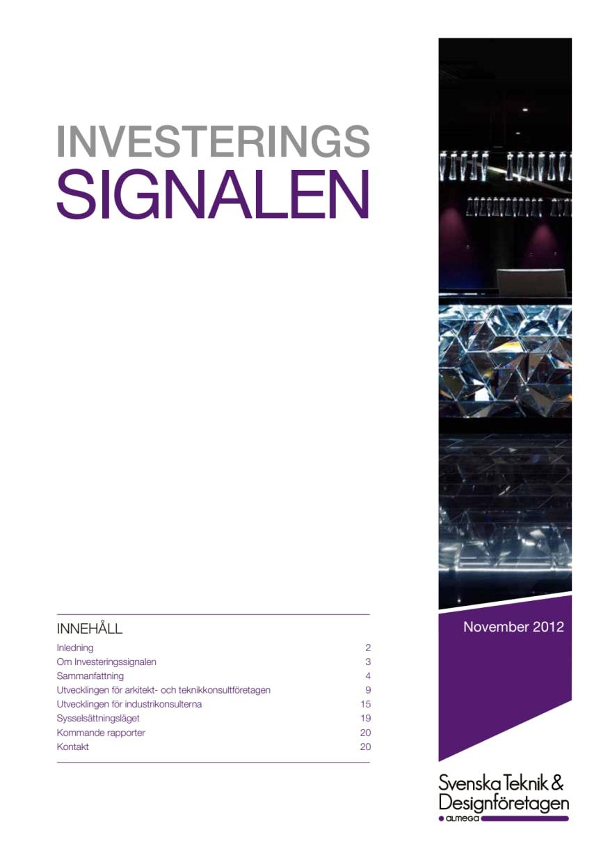 Svenska Teknik&Designföretagen: Investeringssignalen november 2012