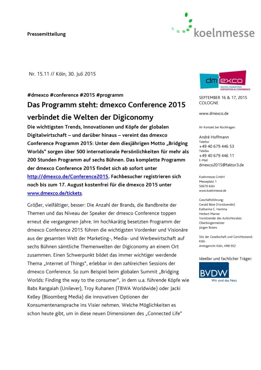 Das Programm steht: dmexco Conference 2015 verbindet die Welten der Digiconomy