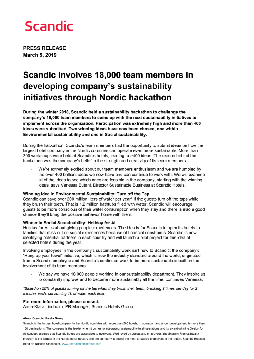 Scandic involves 18,000 team members in developing company's sustainability initiatives through Nordic hackathon