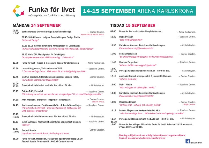 Program Funka för livet Karlskrona 14-15 september