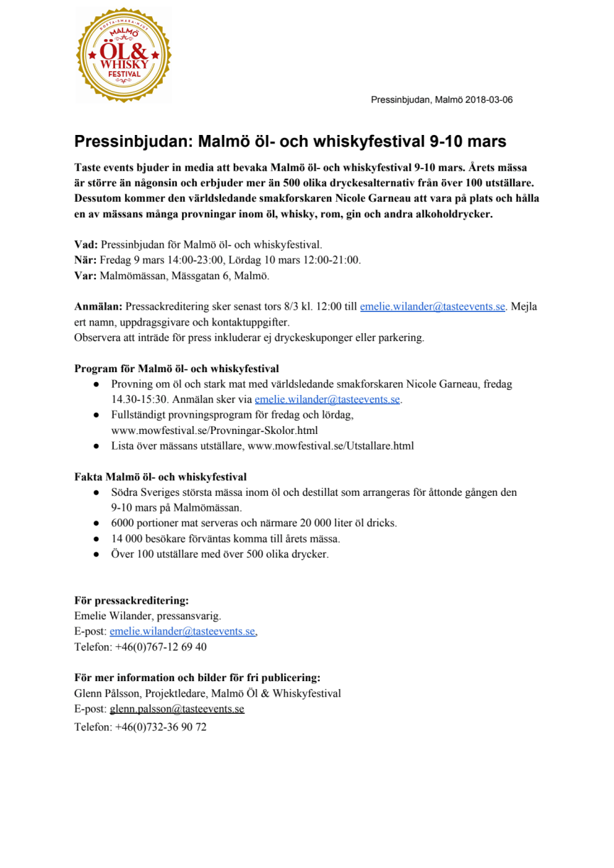 Pressinbjudan: Malmö öl- och whiskyfestival 9-10 mars