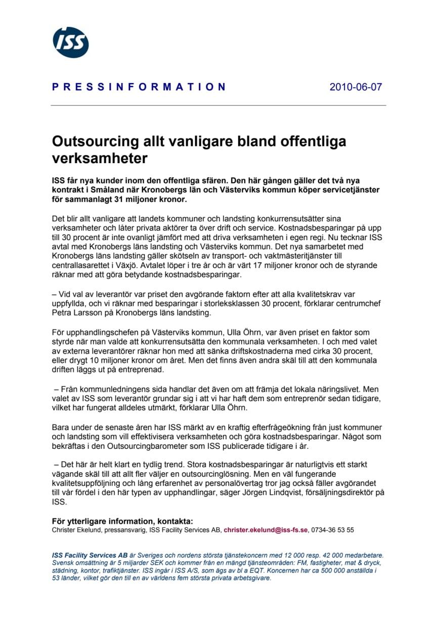 Outsourcing allt vanligare bland offentliga verksamheter