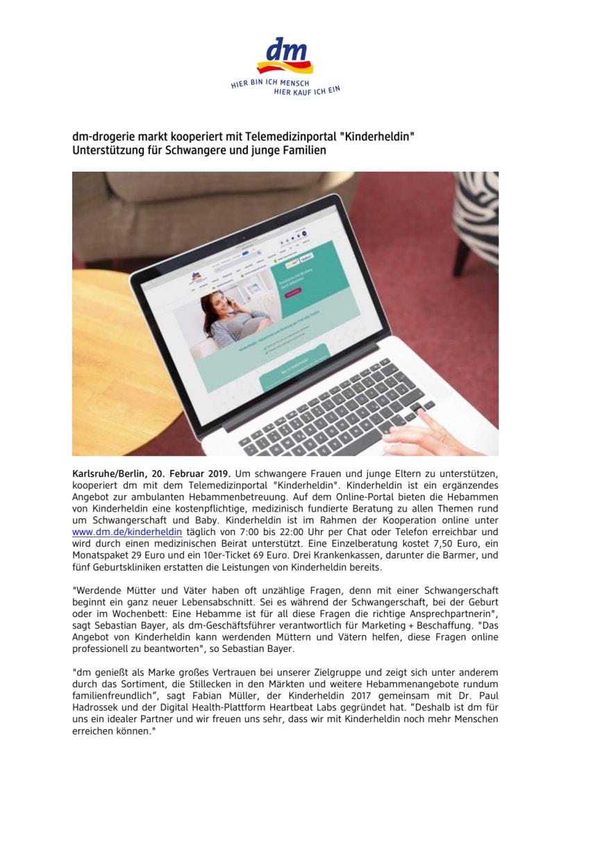 """dm kooperiert mit Telemedizinportal """"Kinderheldin"""" Unterstützung für Schwangere und junge Familien"""