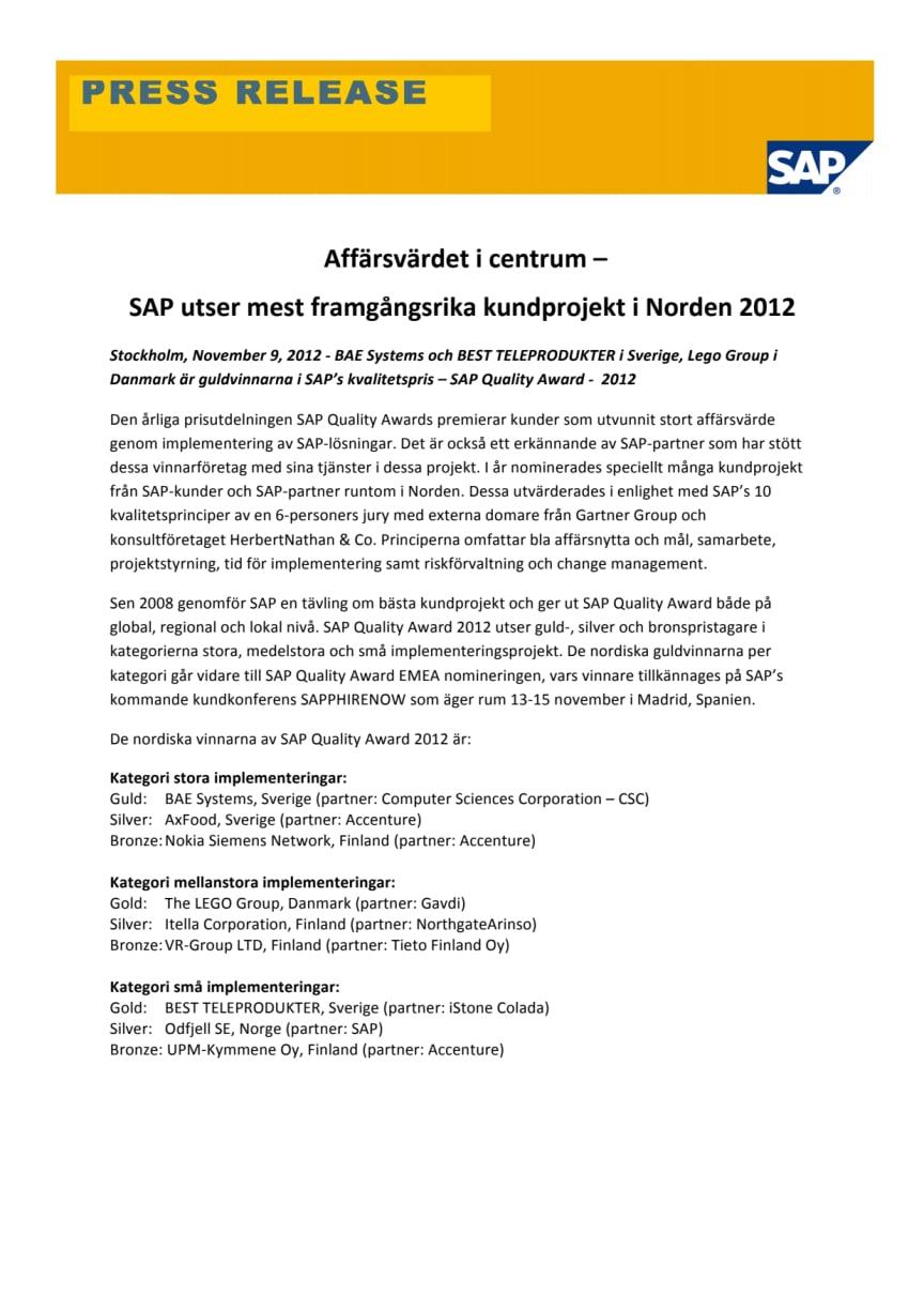 Affärsvärdet i centrum – SAP utser mest framgångsrika kundprojekt i Norden 2012