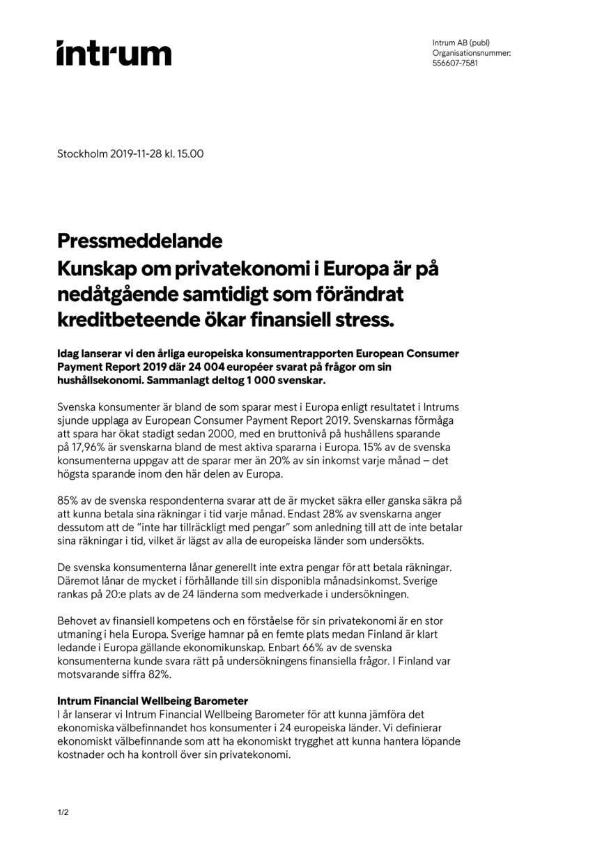 Kunskap om privatekonomi i Europa är på nedåtgående samtidigt som förändrat kreditbeteende ökar finansiell stress.