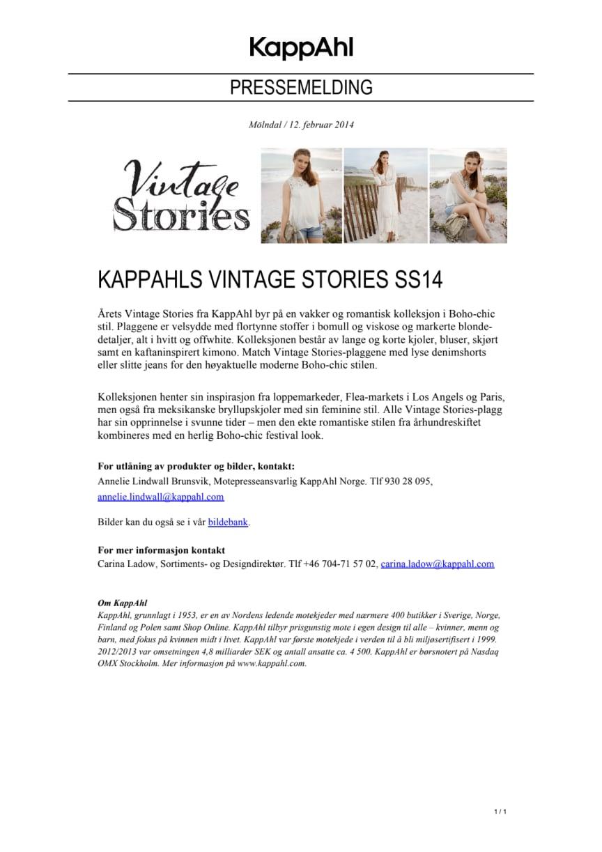 KAPPAHLS VINTAGE STORIES SS14
