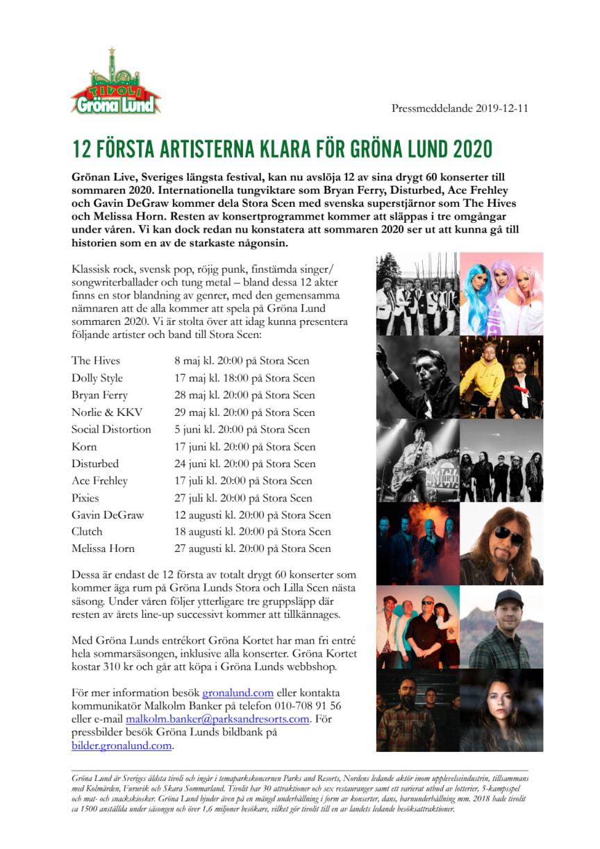 12 första artisterna klara till Gröna Lund 2020