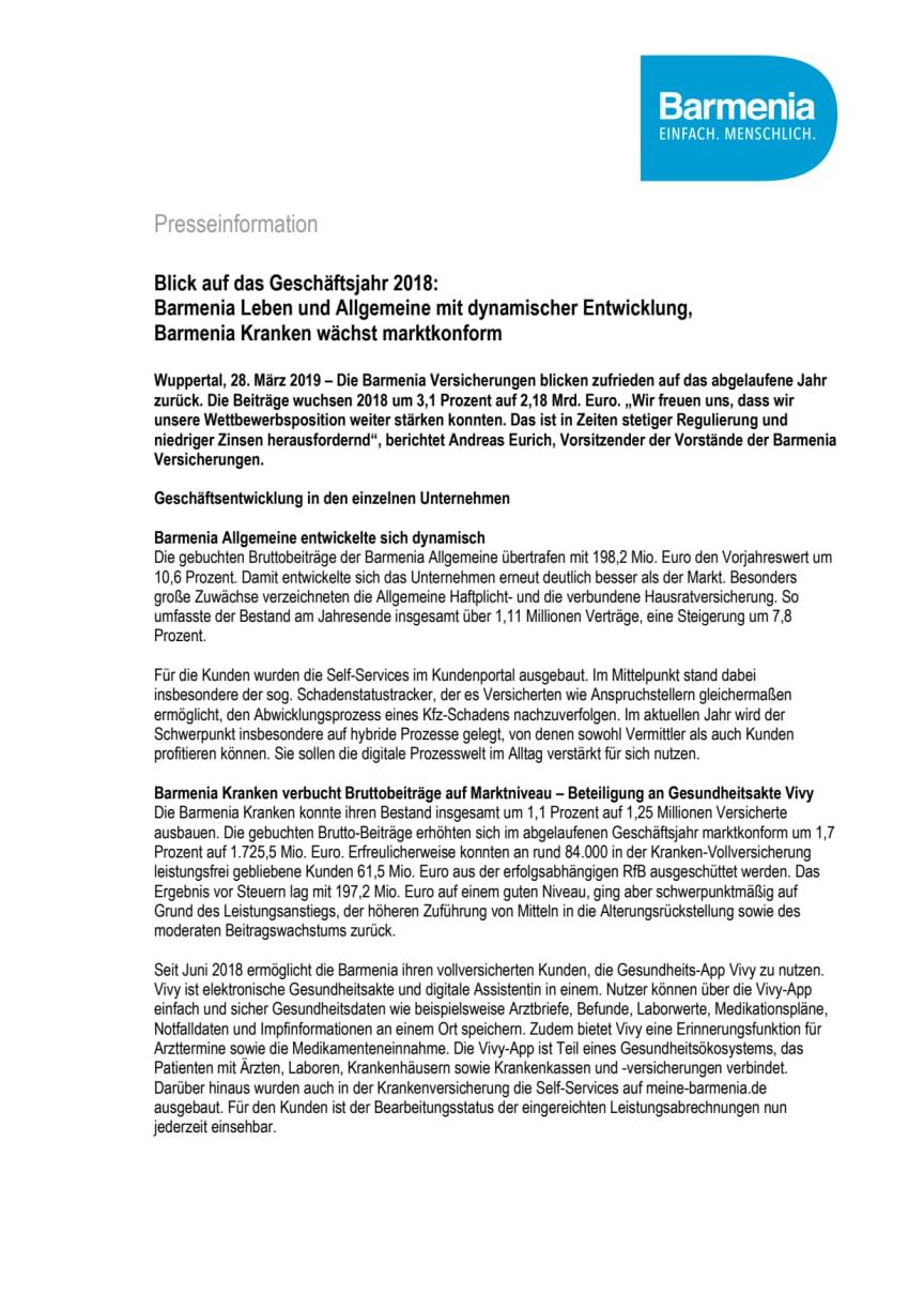 Blick auf das Geschäftsjahr 2018:  Barmenia Leben und Allgemeine mit dynamischer Entwicklung, Barmenia Kranken wächst marktkonform