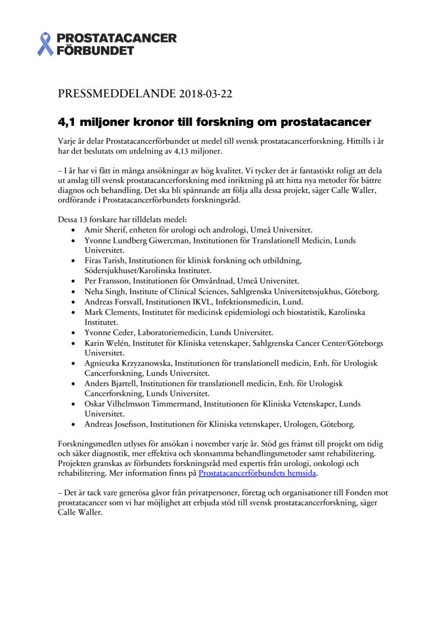 4,1 miljoner kronor till forskning om prostatacancer