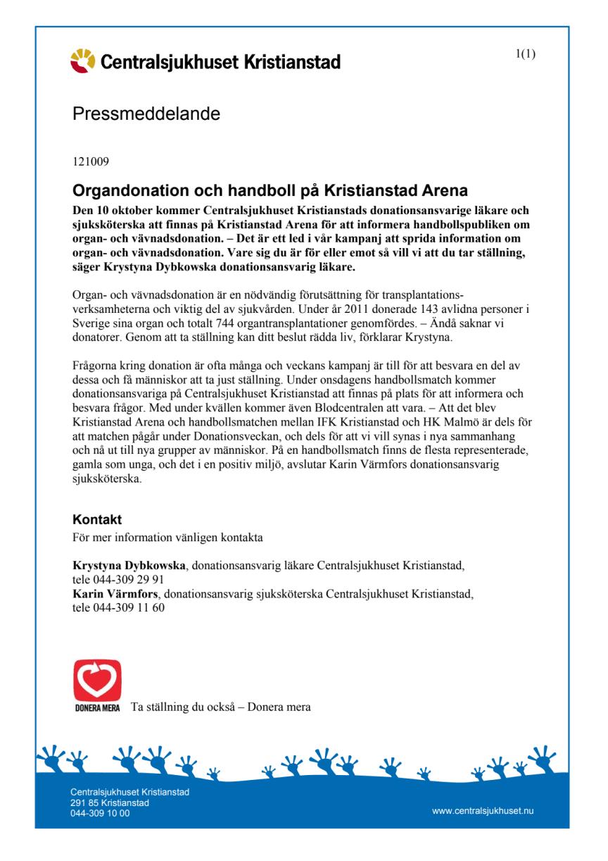 Organdonation och handboll på Kristianstad Arena