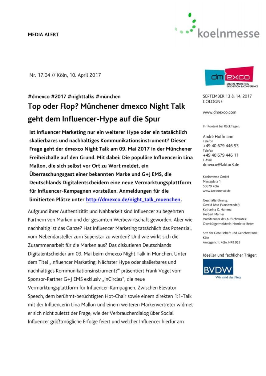 Top oder Flop? Münchener dmexco Night Talk geht dem Influencer-Hype auf die Spur