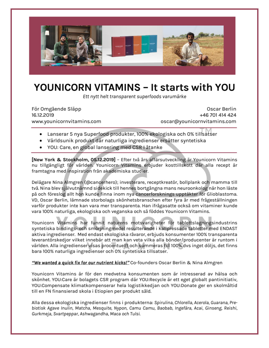 [SE] YOUNICORN VITAMINS - It starts with YOU