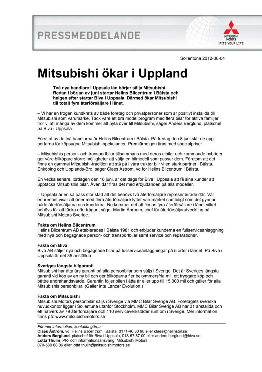 Mitsubishi ökar i Uppland