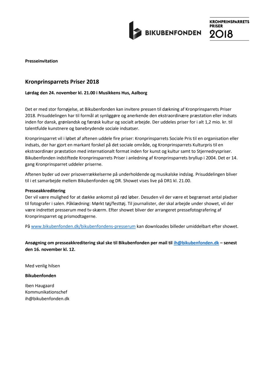 Presseinvitation Kronprinsparrets Priser 2018