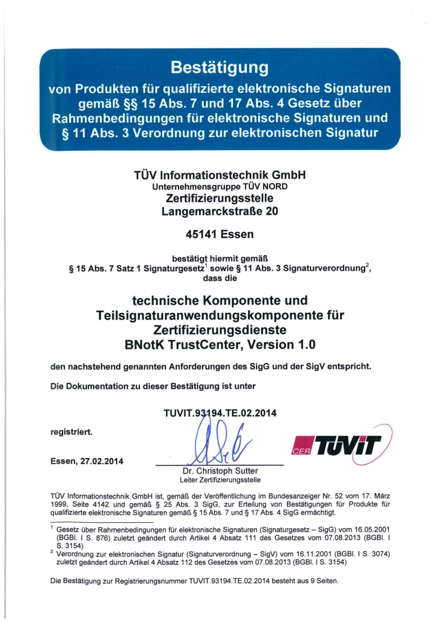 Urkunde TÜV-IT-BNotK-TrustCenter