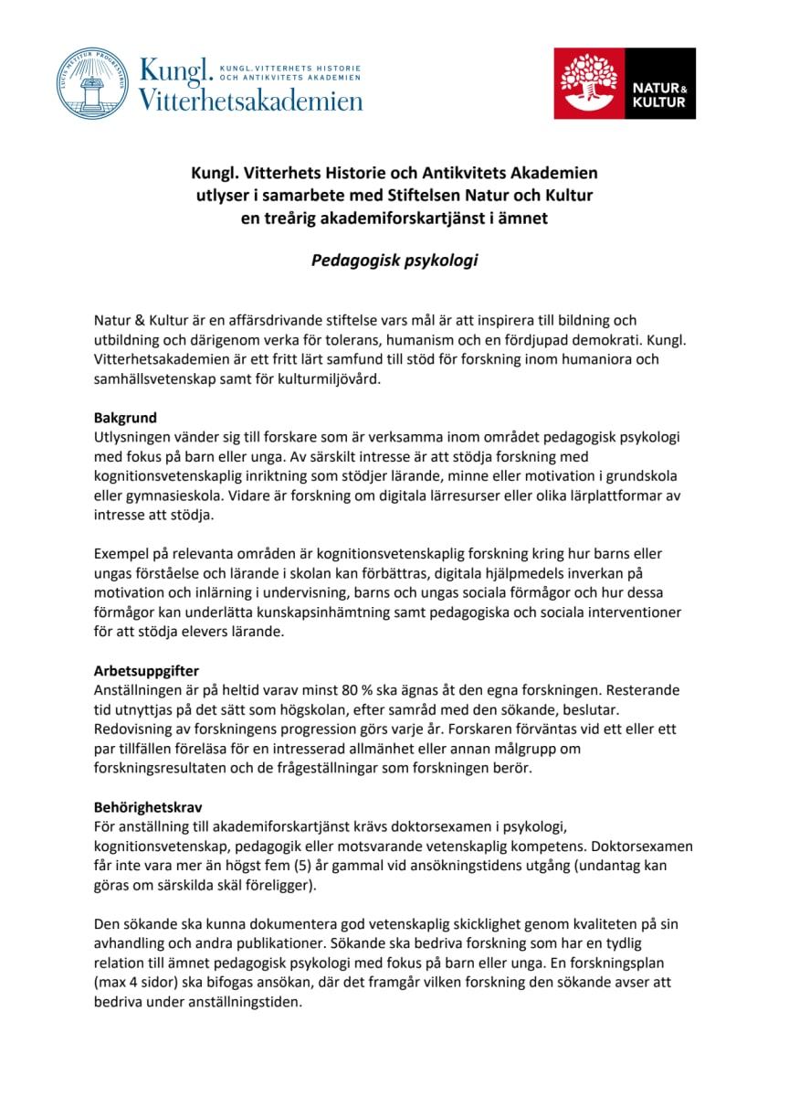 Utlysning akademiforskartjänst inriktning Pedagogisk psykologi
