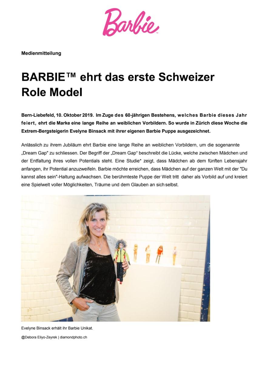 BARBIE™ ehrt das erste Schweizer Role Model