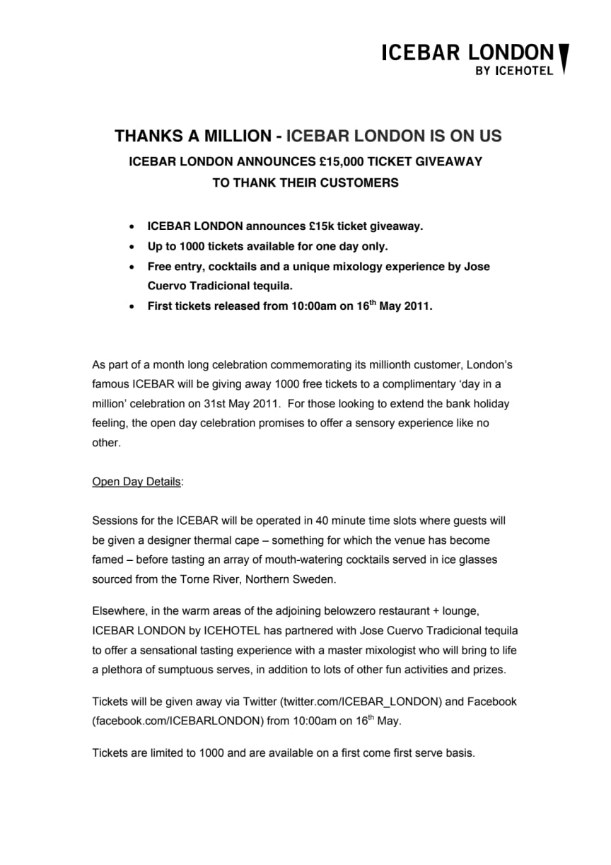 THANKS A MILLION - ICEBAR LONDON IS ON US ICEBAR LONDON ANNOUNCES £15,000 TICKET GIVEAWAY
