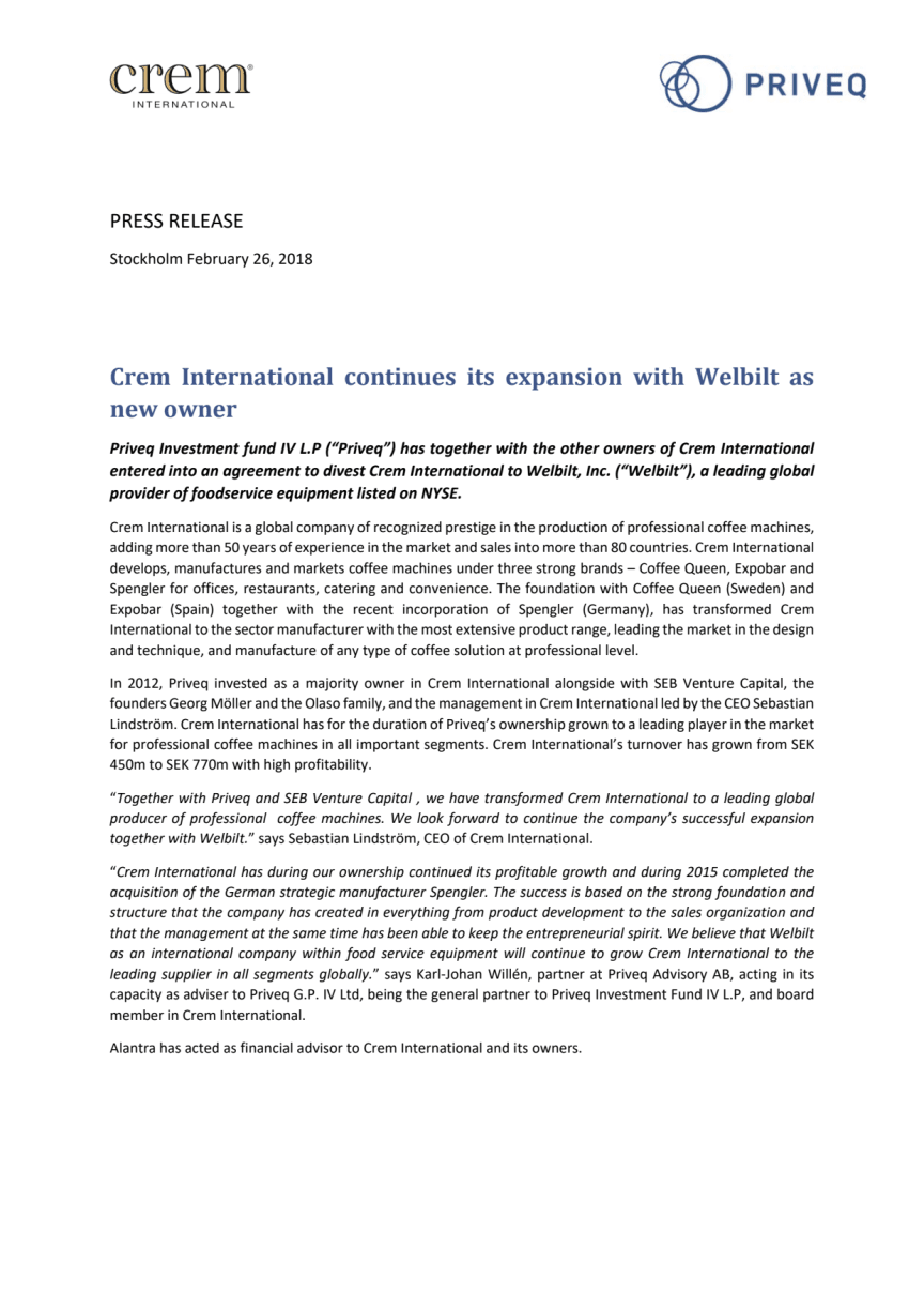 Crem International continues its expansion with Welbilt as new owner