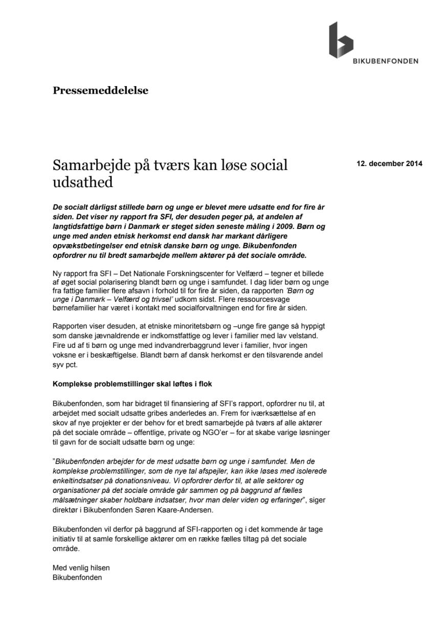 Samarbejde på tværs kan løse social udsathed