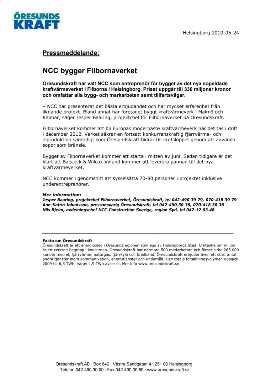 NCC bygger Filbornaverket