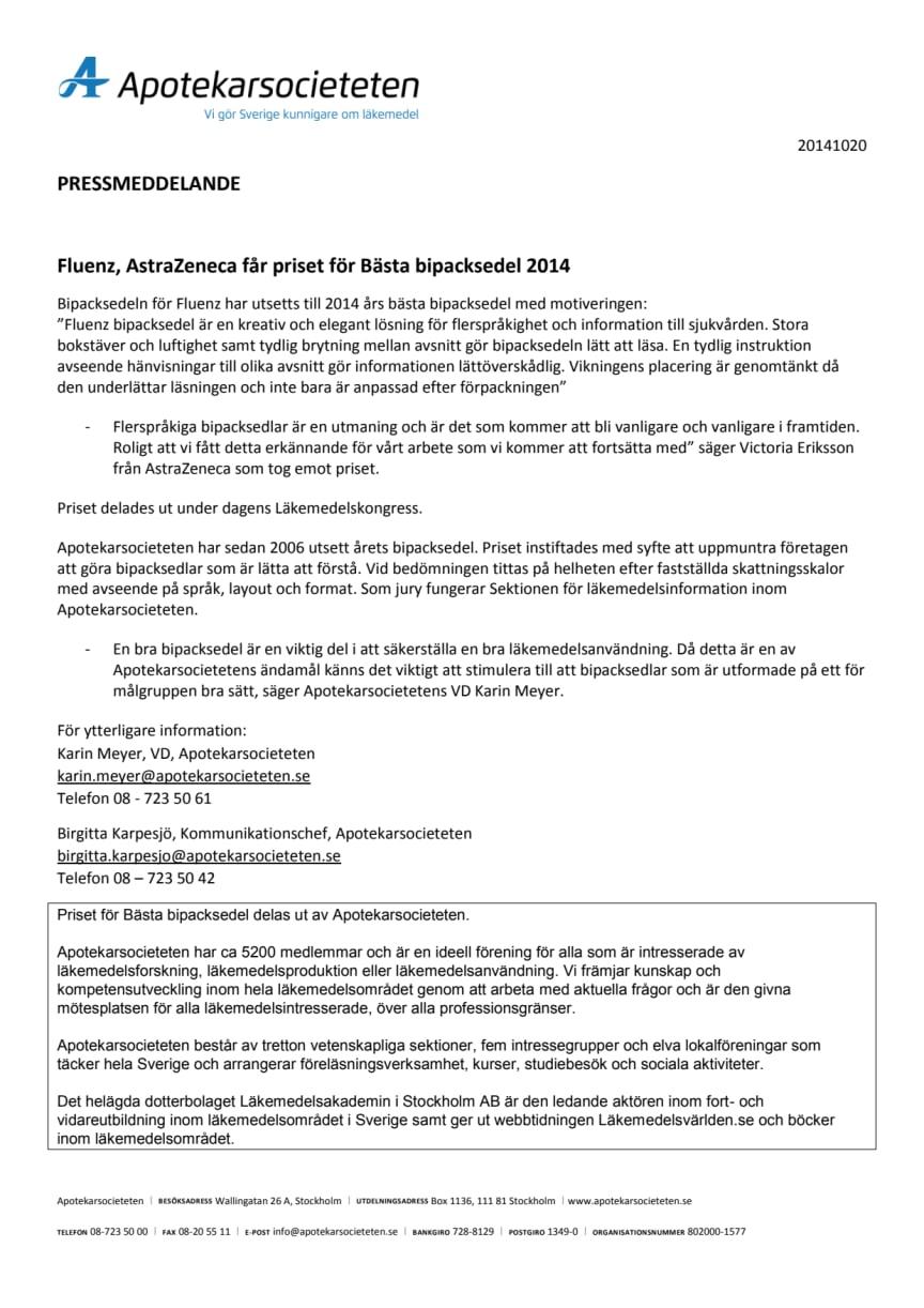 Fluenz, AstraZeneca får priset för Bästa bipacksedel 2014