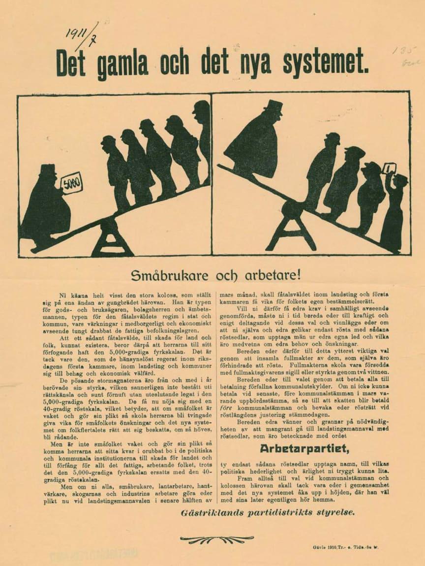 Flygblad utgivet av Socialdemokratiska arbetarepartiet 1910.