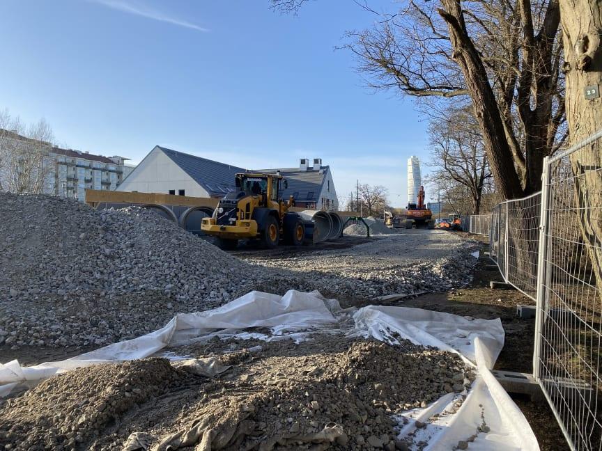 Grävarbete vid Mariehage förskola 2021