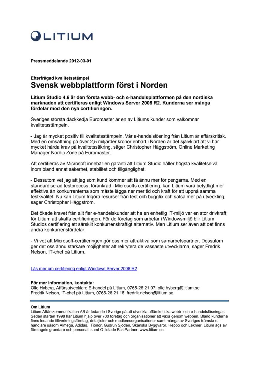 Svensk webbplattform först i Norden - Efterfrågad kvalitetsstämpel