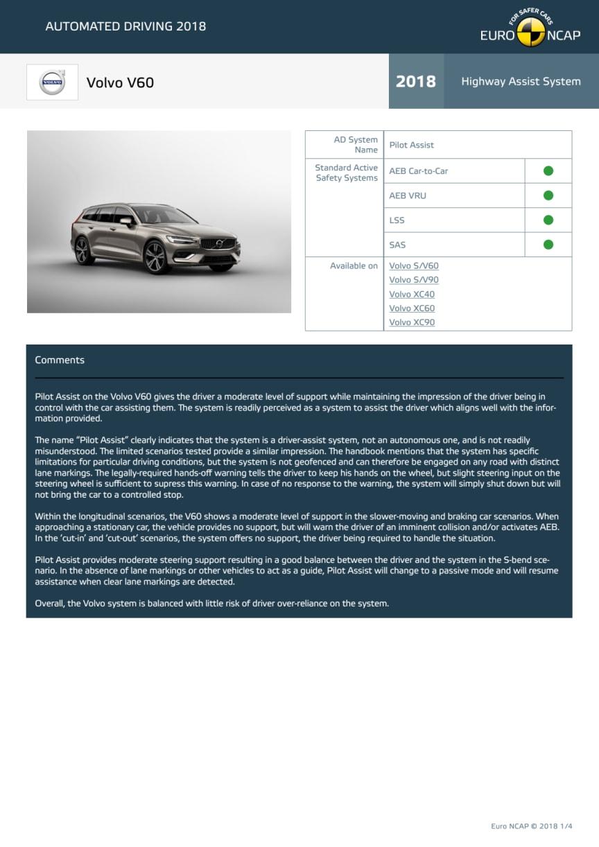 Automated Driving 2018 - Volvo V60 datasheet - October 2018