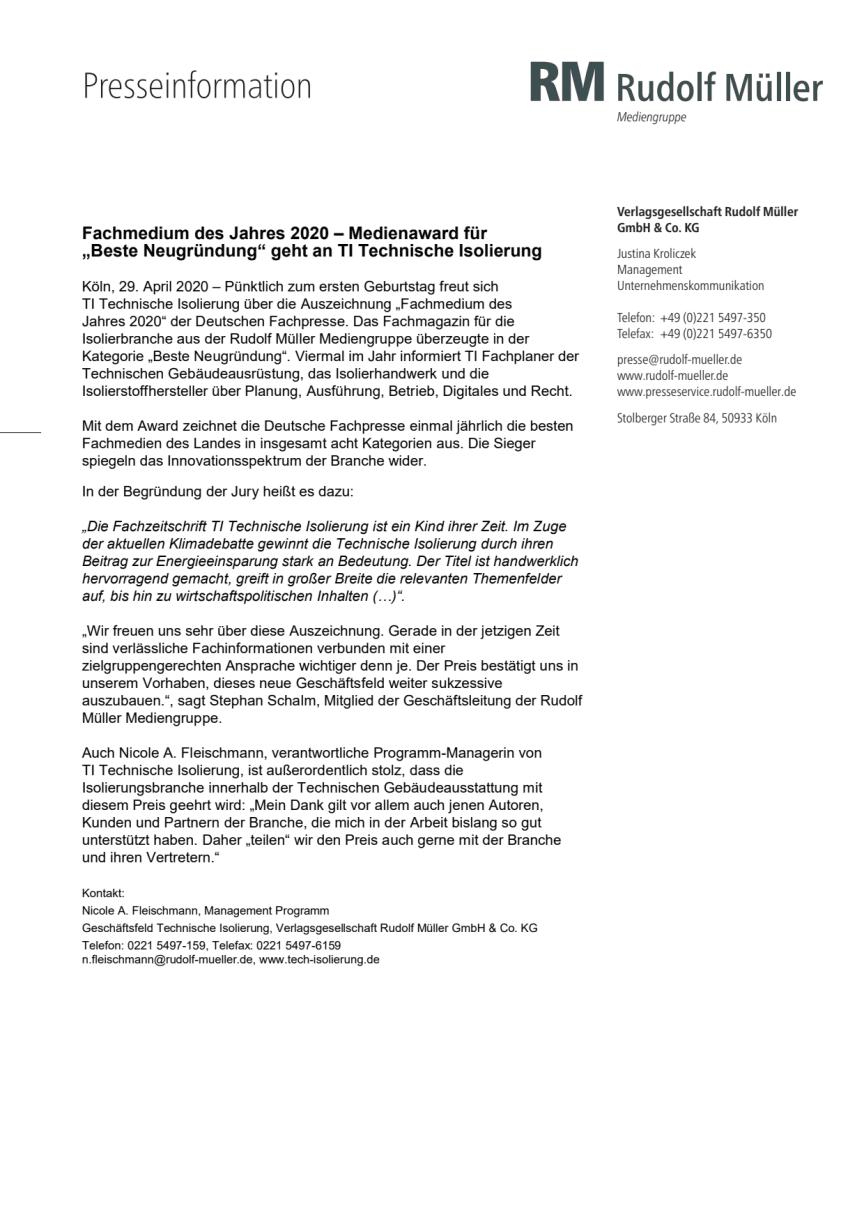 """Fachmedium des Jahres 2020 – Medienaward für """"Beste Neugründung"""" geht an TI Technische Isolierung"""