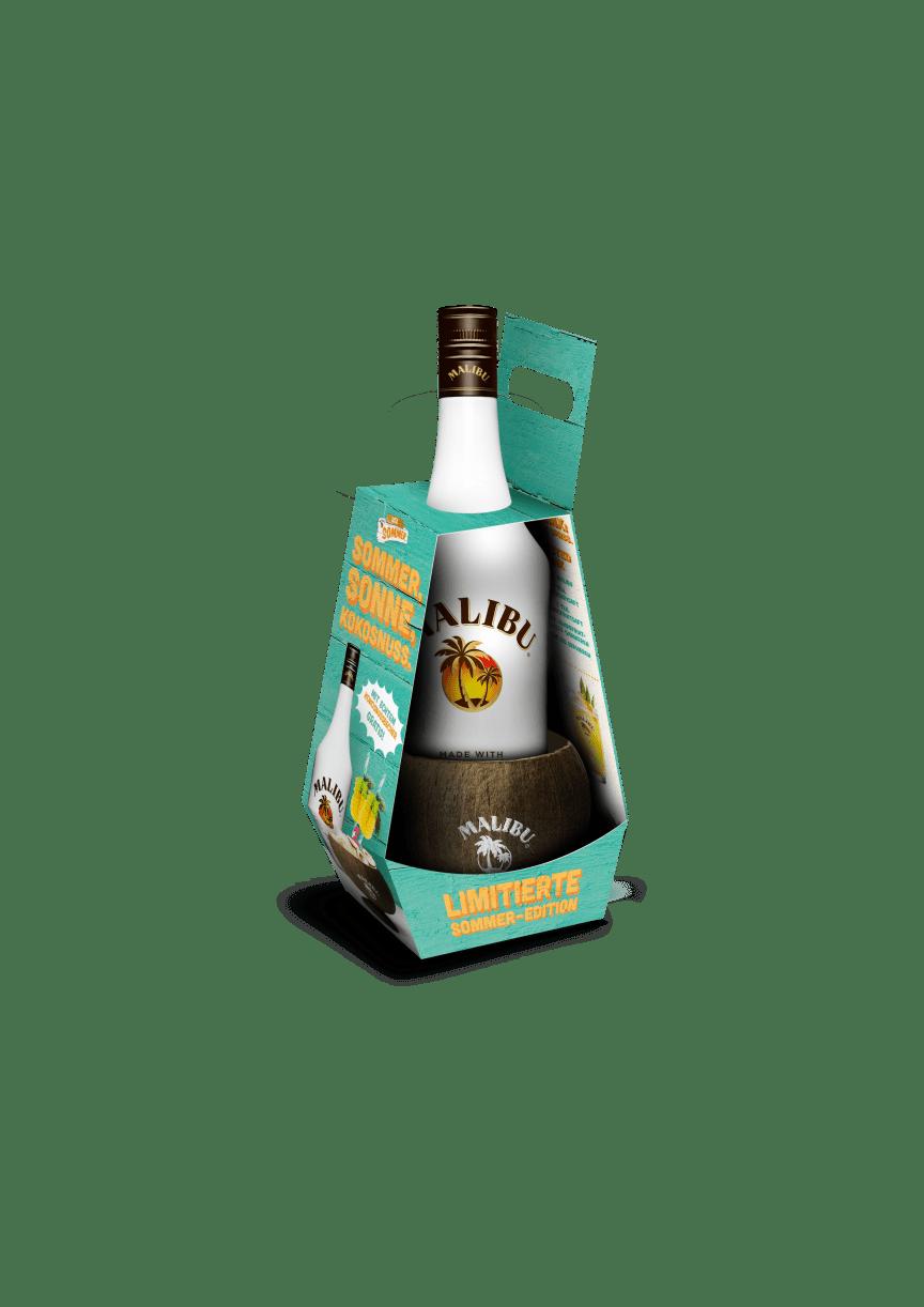 Malibu-Flasche mit einem  stylischen Coconut Cup