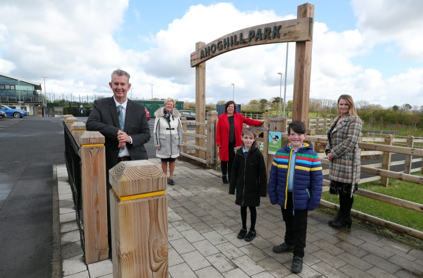 Pictured is MEA LAG Vice Chair, Ald Audrey Wales MBE; MEA LAG Chair, Kelli McRoberts; Director of Community for Mid and East Antrim Borough Council, Katrina Morgan; Rory Higgins and Grace Jackson from Four Fourtown's Primary School.
