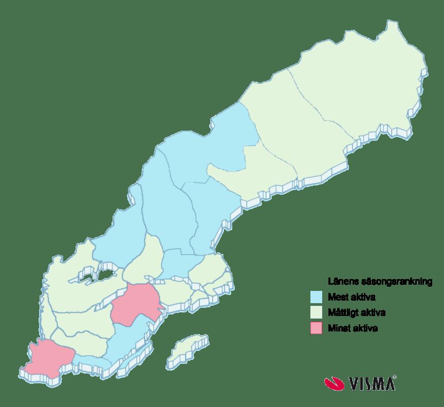 Karta över säsongsaktiva län