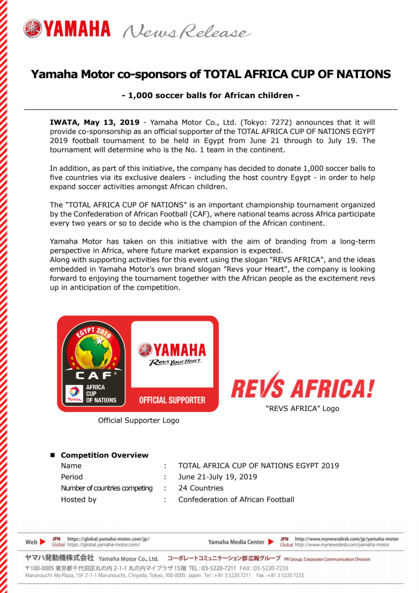 Yamaha Motor co-sponsors of TOTAL AFRICA CUP OF NATIONS - 1,000 soccer balls for African children -