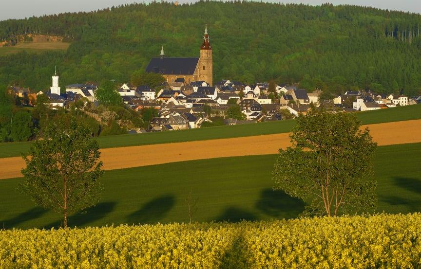 Bergstadt Schneeberg mit Blick auf Kirche St. Wolfgang