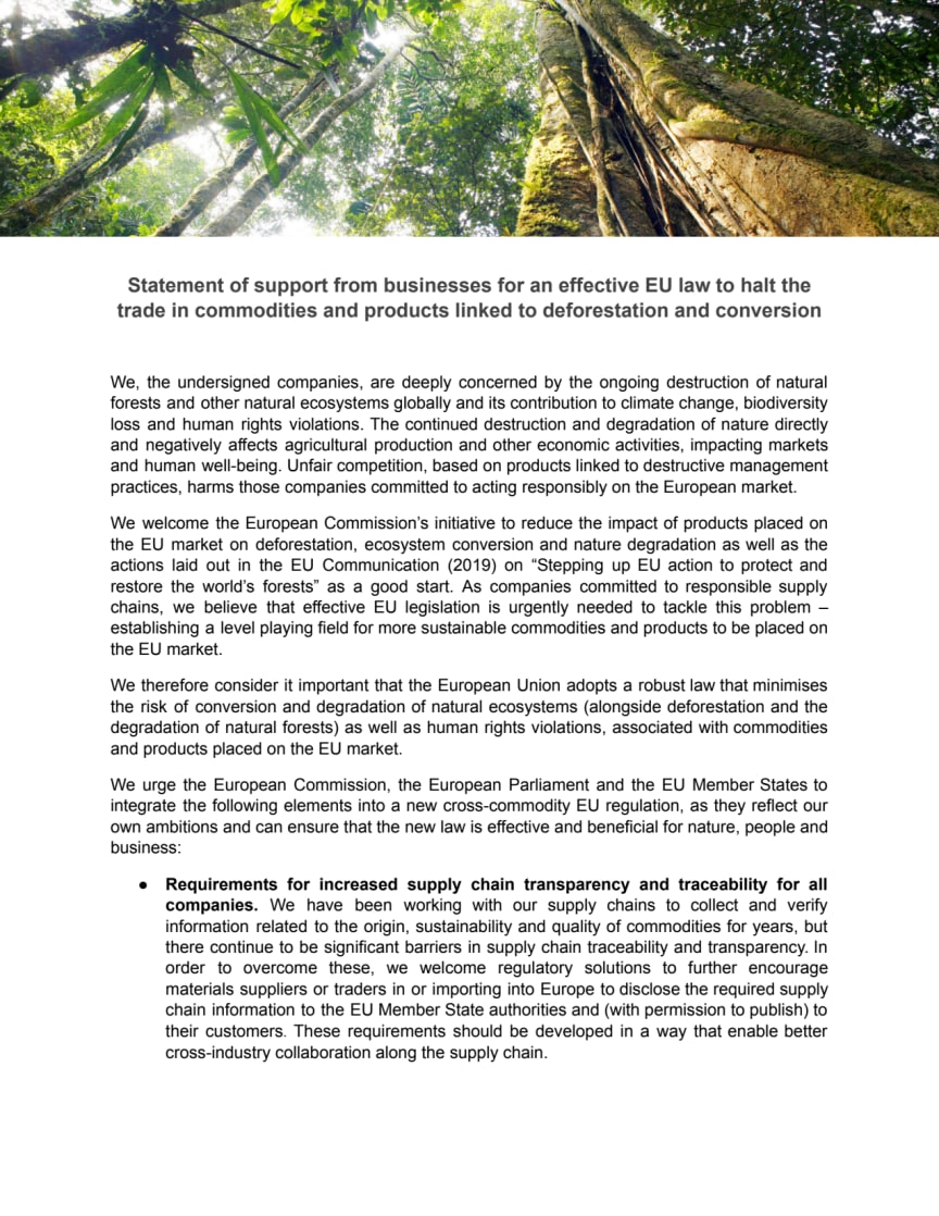Statement of support from businesses for an effective EU law to halt the trade in commodities and products linked to deforestation and conversion.pdf