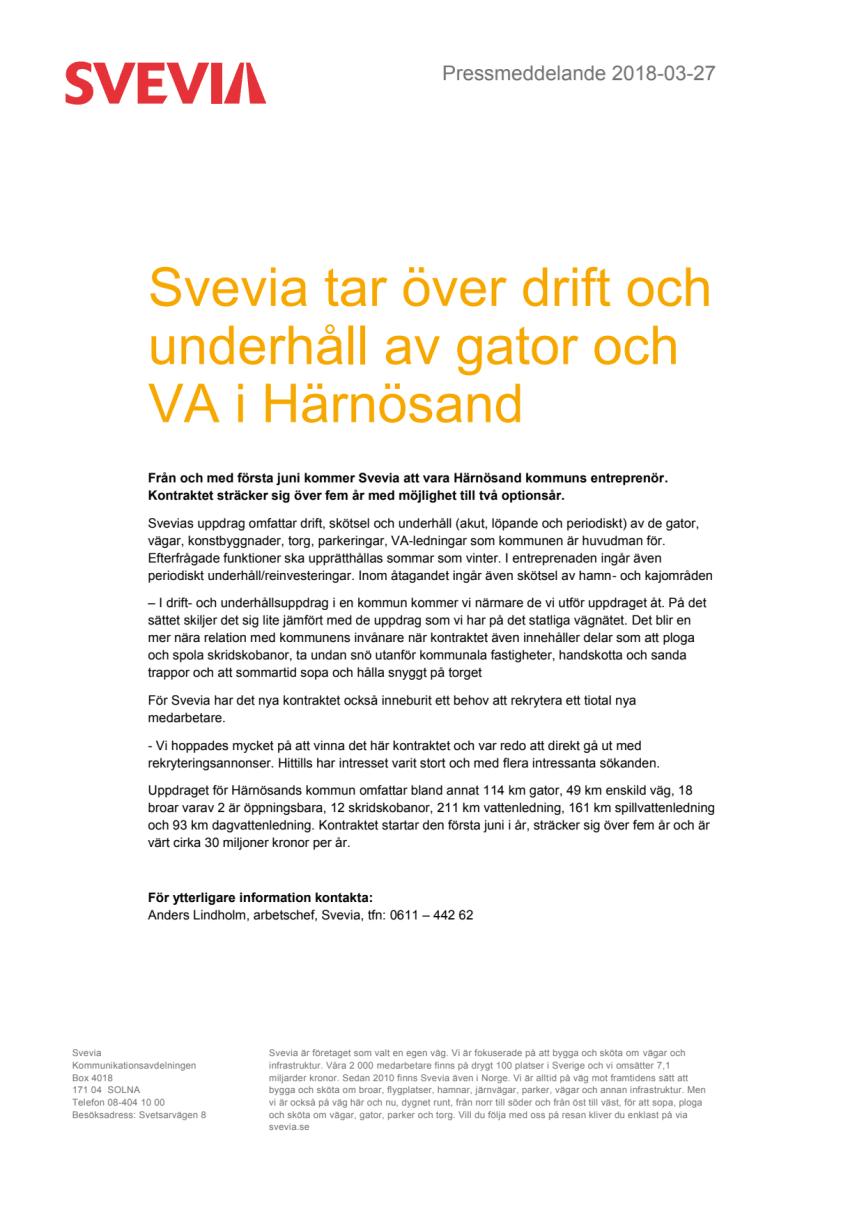 Svevia tar över drift och underhåll av gator och VA i Härnösand