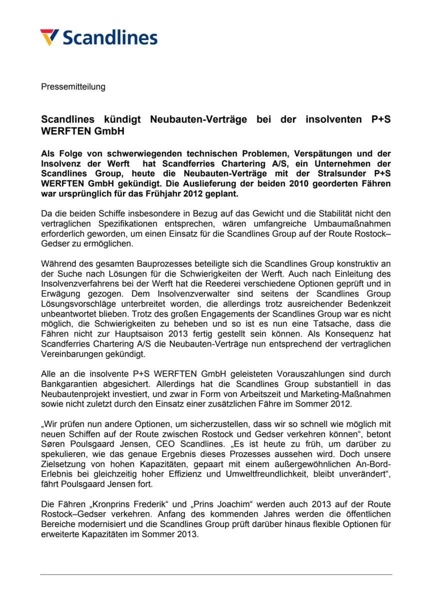Scandlines kündigt Neubauten-Verträge bei der insolventen P+S WERFTEN GmbH