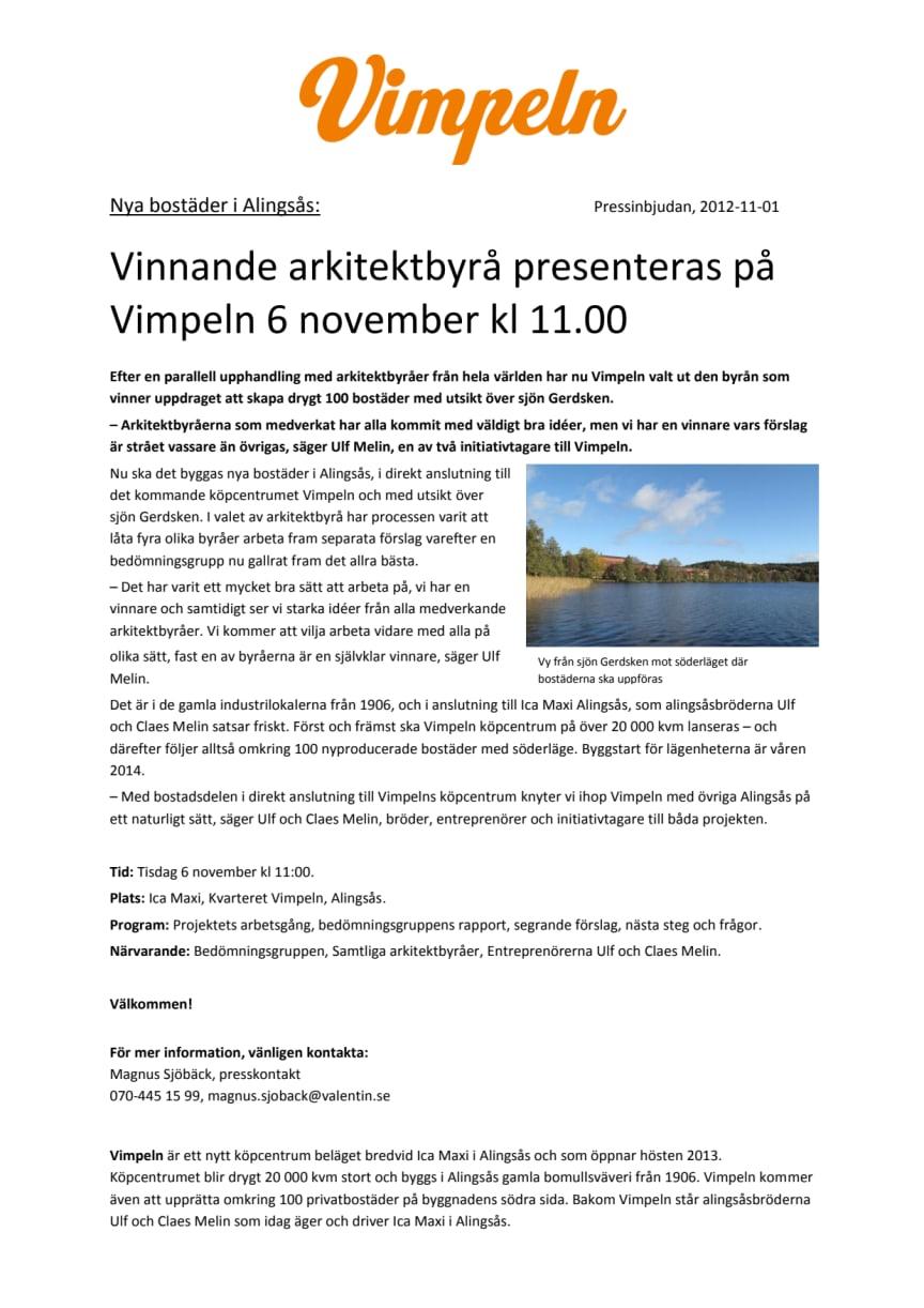 Nya bostäder i Alingsås: Vinnande arkitektbyrå presenteras på Vimpeln 6 november kl 11.00
