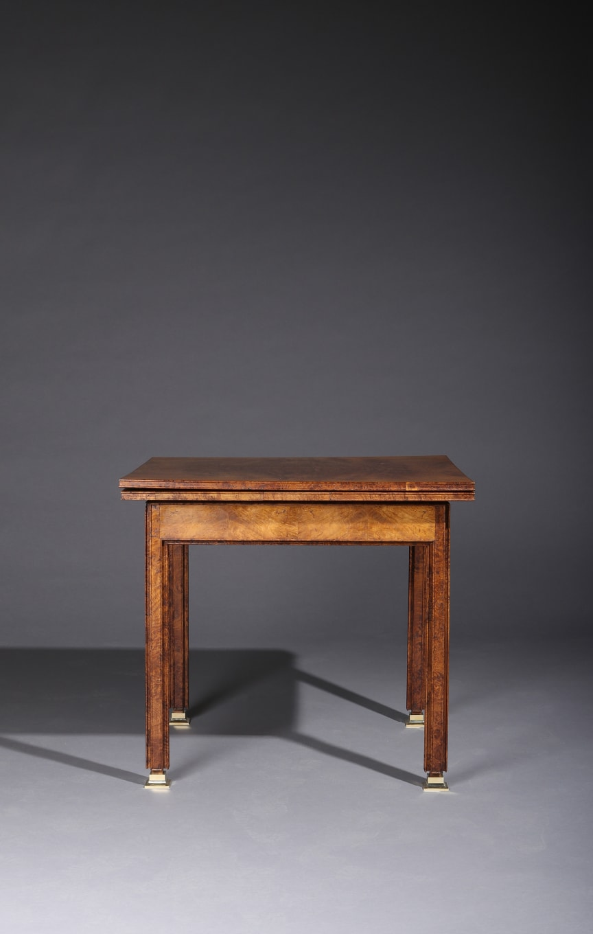 Kaare Klint: An early and unique games table in oak burl.