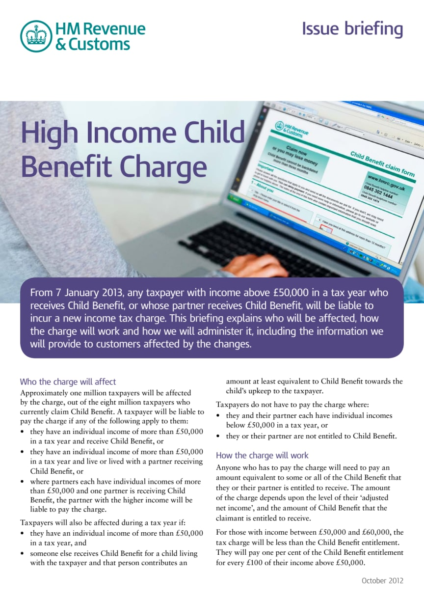 HMRC Briefing - High Income Child Benefit Charge