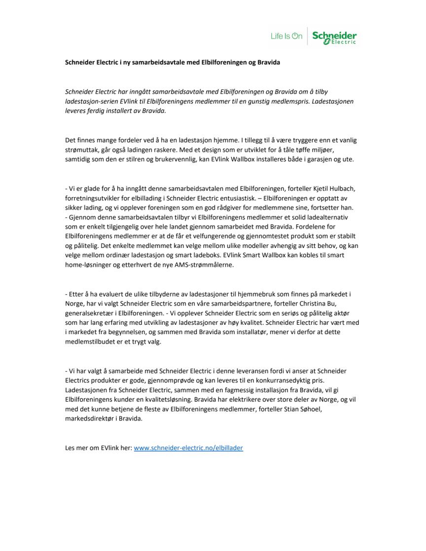Schneider Electric i ny samarbeidsavtale med Elbilforeningen og Bravida