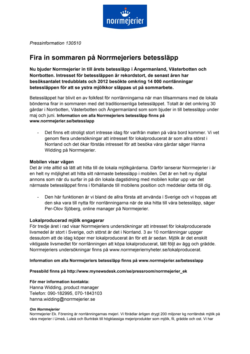 Fira in sommaren på Norrmejeriers betessläpp