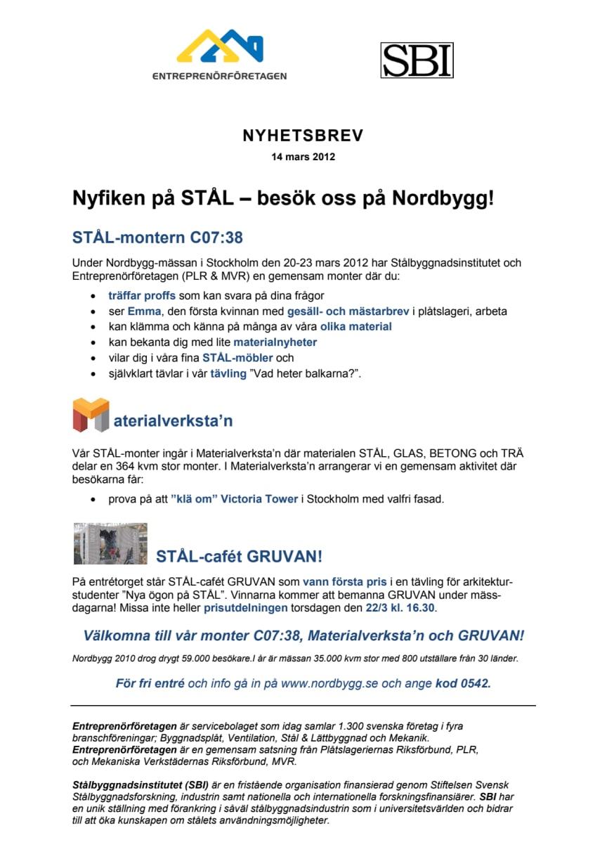 Nyfiken på STÅL – besök oss på Nordbygg!