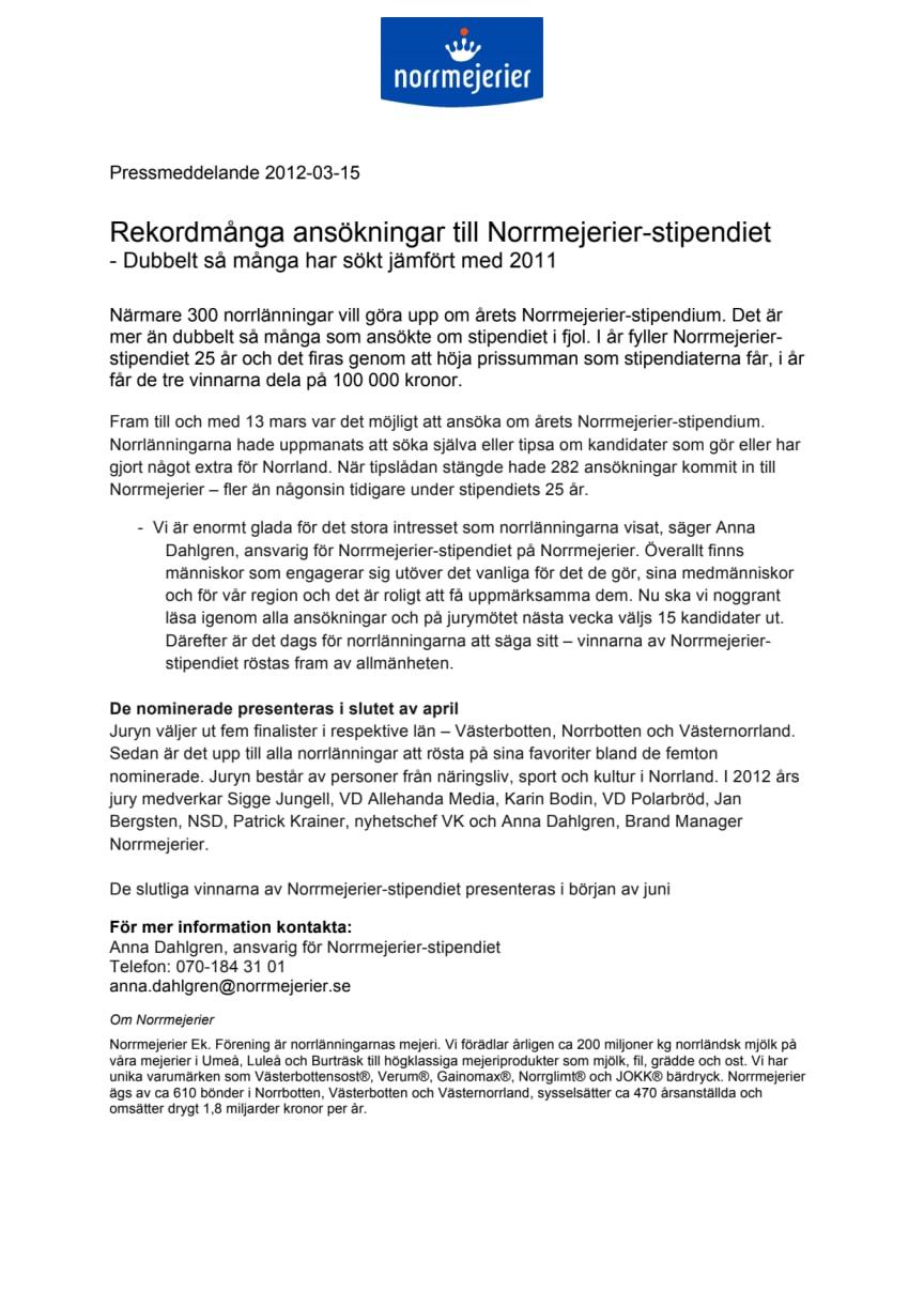 Rekordmånga ansökningar till Norrmejerier-stipendiet - Dubbelt så många har sökt jämfört med 2011