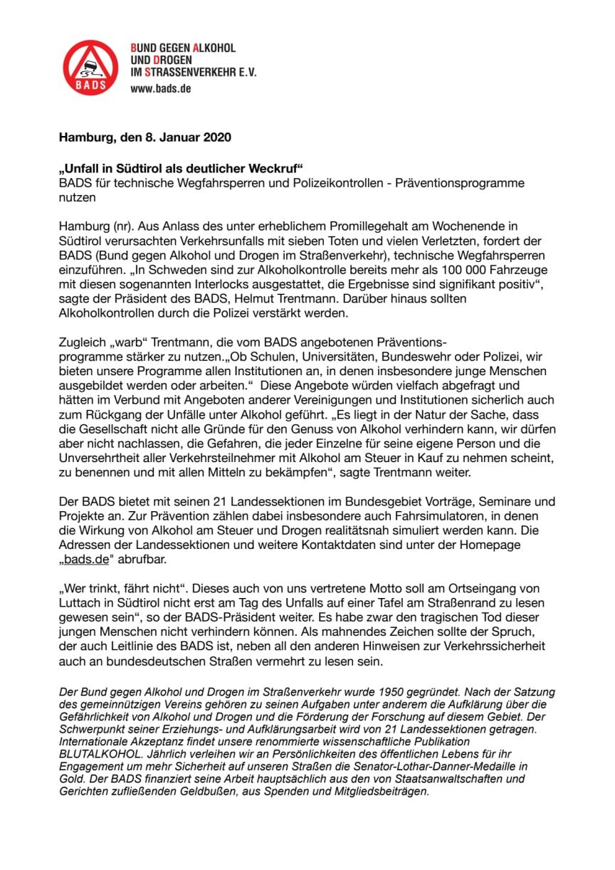 """""""Unfall in Südtirol als deutlicher Weckruf"""""""