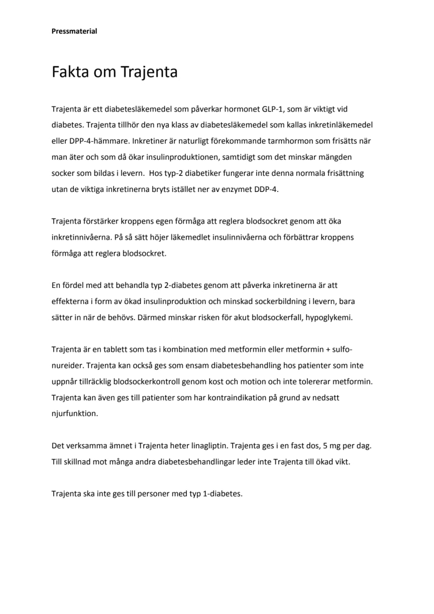 Fakta om Trajenta (linagliptin)