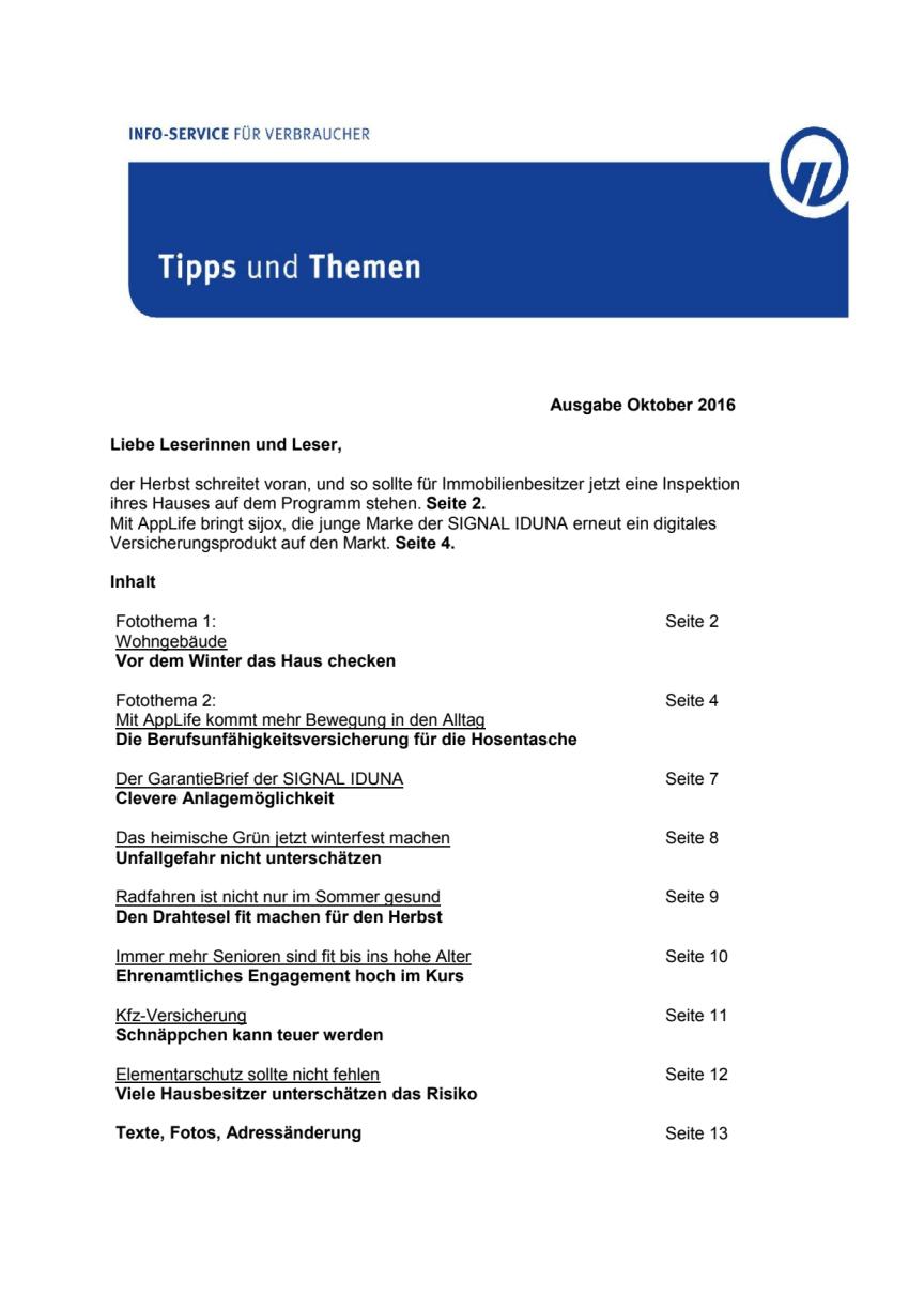 Tipps und Themen 10-2016